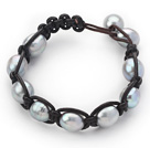 Wholesale Fashion Style 10-11mm Gray Freshwater Pearl Wrapped Leather Bracelet with Black Leather