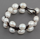 Double Layer 10-11mm White Freshwater Pearl Leather Bracelet with Black Leather