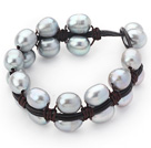 Double Layer 10-11mm Gray Freshwater Pearl Leather Bracelet with Black Leather