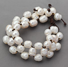 10-11mm White Freshwater Pearl Leather Bracelet with Coffee Brown Bracelet