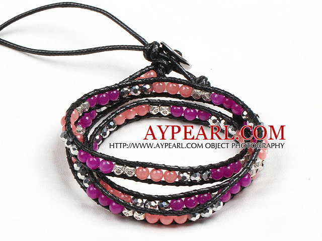 Fashion Style Rose Red Agate Watermelon Crystal Beads Three Times Wrap Bangle Bracelet