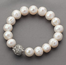 Classic Design 10-11mm Round White Freshwater Pearl Beaded Stretch Bracelet with Magnetic Clasp