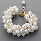 Assorted Round Acrylic Pearl Bracelet with Golden Color Metal Adjustable Chain