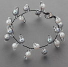 Wholesale 2013 Summer New Design Gray and White Freshwater Pearl and Clear Crystal Bridal Bracelet