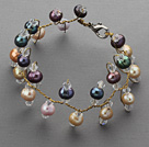 Wholesale 2013 Summer New Design Assorted Multi Color Freshwater Pearl and Clear Crystal Bridal Bracelet