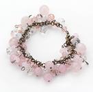 Vintage Style Pink Series Rose Quarta and Pink Crystal Bracelet