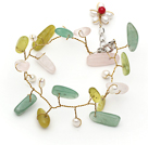 Wholesale White Freshwater Pearl and Branch Shape Rose Quartz and Olive and Aventurine Wire Crocheted Multi Color Bracelet
