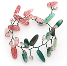 Pink Freshwater Pearl and Branch Shape Cherry Quartz and Green Agate Wire Crocheted Multi Color Bracelet
