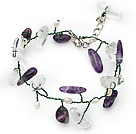 White Freshwater Pearl and Branch Shape Clear Crystal and Amethyst Wire Crocheted Multi Color Bracelet