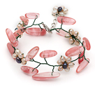 Pink Series Pink Freshwater Pearl and Branch Shape Cherry Quartz Wire Crocheted Bracelet