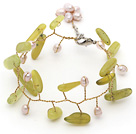Wholesale Yellow Green Series Pink Freshwater Pearl and Branch Shape South Korea Jade Wire Crocheted Bracelet