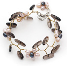 Wholesale Pink Freshwater Pearl Flower and Branch Shape Smoky Quartz Wire Crocheted Bracelet