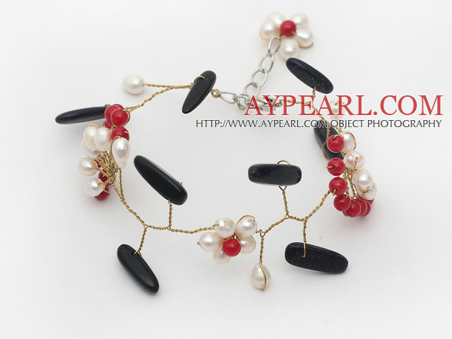 White Freshwater Pearl and Red Coral Flower and Branch Shape Bluesand Stone Wire Crocheted Bracelet