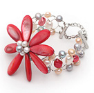 Multi Color Freshwater Pearl og Hot Pink Shell Flower Wire Heklet armbånd