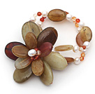 White Freshwater Pearl and Carnelian and Three Colored Jade Flower Bracelet