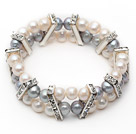 Wholesale Two Rows 7-8mm Gray and White Round Freshwater Pearl Stretch Bangle Bracelet with Rhinestone Accessories