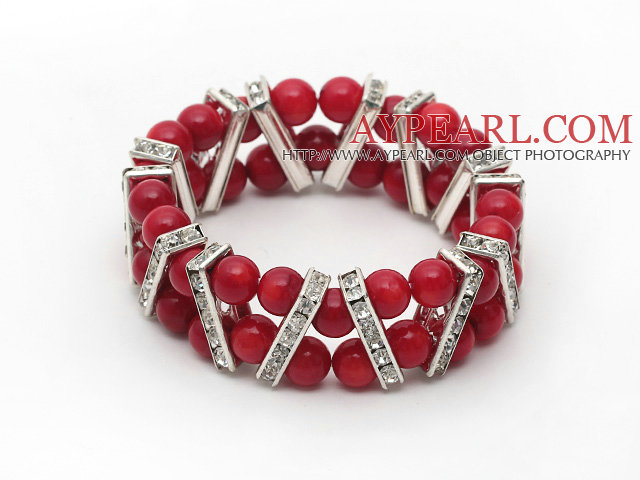 Two Rows Round 7mm Coral Stretch Bangle Bracelet with Rhinestone Accessories