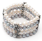 Wholesale Four Rows 7-8mm Gray and White Round Freshwater Pearl Stretch Bangle Bracelet with Metal Leaf Accessories