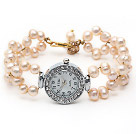 Wholesale Fashion Style 6-7mm Pink Freshwater Pearl Watch Bracelet with Lobster Clasp