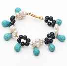 White and Black Freshwater Pearl and Drop Shape Turquoise Bracelet