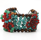 Assorted Turquoise and Tiger Eye Crocheted Wire Bracelet with Carnelian and Aventurine Butterfly