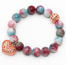 12mm Round Multi Color Jade Beaded Stretch Bracelet with Golden Rose Color Hollow Heart and Ball Accessories
