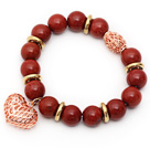 Wholesale 12mm Round Red Jasper Beaded Stretch Bracelet with Golden Rose Color Hollow Heart and Ball Accessories
