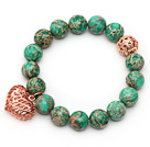 Wholesale 12mm Round Imperial Jasper Beaded Stretch Bracelet with Golden Rose Color Hollow Heart and Ball Accessories