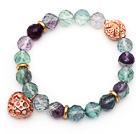 Wholesale 10mm Round Faceted Fluorite Beaded Stretch Bracelet with Golden Rose Color Hollow Heart and Ball Accessories