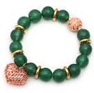 Wholesale 12mm Round Green Aventurine Beaded Stretch Bracelet with Golden Rose Color Hollow Heart and Ball Accessories