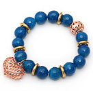 Wholesale 12mm Round Faceted Blue Agate Beaded Stretch Bracelet with Golden Rose Color Hollow Heart and Ball Accessories
