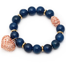 12mm Round Dark Blue Agate Beaded Stretch Bracelet with Golden Rose Color Hollow Heart and Ball Accessories
