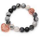 12mm Round Black Rutilated Quartz Beaded Stretch Bracelet with Golden Rose Color Hollow Heart and Ball Accessories