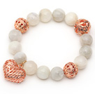 12mm Round Moonstone Beaded Stretch Bracelet with Golden Rose Color Hollow Heart and Ball Accessories