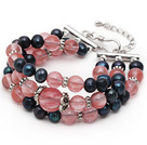 Three Strands Black Freshwater Pearl and Cherry Quartz Bracelet with Extendable Chain
