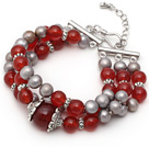 Three Strands Gray Pearl and A Grade Carnelian Bracelet with Extendable Chain