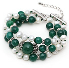 Three Strands White Freshwater Pearl and Green Agate Bracelet with Extendable Chain