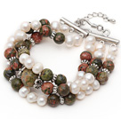 Three Strands White Freshwater Pearl and Green Piebald Stone Bracelet with Extendable Chain
