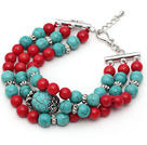 Three Strands Red Coral and Turquoise Bracelet with Extendable Chain
