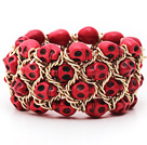 Fashion Style Dyed Red Turquoise Skull Stretch Cuff Bracelet with Yellow Color Metal Chain