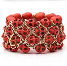 Fashion Style Dyed Orange Red Turquoise Skull Stretch Cuff Bracelet with Yellow Color Metal Chain
