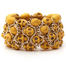 Fashion Style Dyed Lemon Yellow Turquoise Skull Stretch Cuff Bracelet with Yellow Color Metal Chain