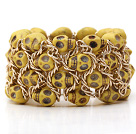 Fashion Style Dyed Yellow Color Turquoise Skull Stretch Cuff Bracelet with Yellow Color Metal Chain