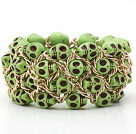 Fashion Style Dyed Apple Green Turquoise Skull Stretch Cuff Bracelet with Yellow Color Metal Chain