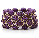 Fashion Style Dyed Purple Turquoise Skull Stretch Cuff Bracelet with Yellow Color Metal Chain