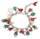 2014 Christmas Design White Freshwater Pearl Charm Bracelet with Christmas Tree and Extendable Chain