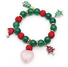 Wholesale 2013 Christmas Design Green Agate and Red Rhinestone Ball Stretch Bracelet with Christmas Tree and Heart Shape Rose Quartz