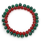 2014 Christmas Design Round 6mm Green Agate and Carnelian Stretch Beaded Bracelet