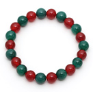 2014 Christmas Design Round 8mm Green Agate and Carnelian Stretch Beaded Bracelet