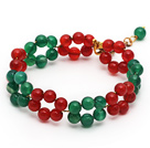 Wholesale 2013 Christmas Design Round Green Agate and Carnelian Beaded Link Bracelet with Extendable Chain